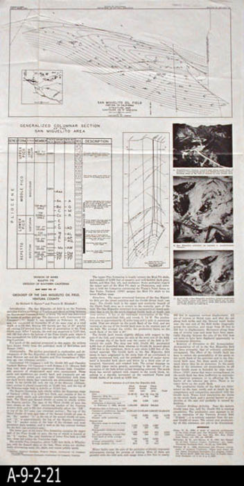 Map 1954 Map Sheet No 27 San Miguelito Oil Field Ventura