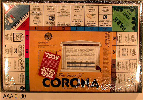 "This artifact is the gameboard for  ""The Game of Corona,"" sponsored by Soroptimist International of Corona.  The first edition was 1984."