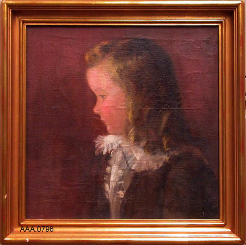 "This artifact is a gold framed oil painting of a child.  On the back of the painting, in a white envelope, is a lock of hair belonging to Stephen Willard.  The framed painting measures 16 "" x 16"".  CONDITION:  There appear to be some cracks on the surface of the painting that have been treated."