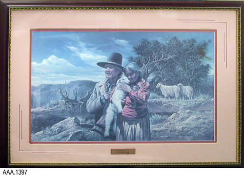 "This artifact is framed art with glass showing a Navajo couple holding a little lamb while looking over their land.  Under the picture is a metal plaque that reads:  "" Bless Our Land - Alfredo Rodriguez.""  This artifact measures  43.5"" (W) and 31"" (H)."