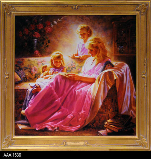 "This artifact is a color print on canvas titled ""Storytime."" This print is framed with a gold frame.  The print is from original artwork by Alfredo Rodriguez.  MEASUREMENTS:  29 1/2"" X 29 1/2"", CONDITION: Good, COPIES:  1."