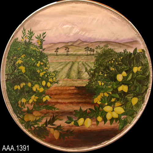 This artifact is round, watercolor art depicting a lemon grove. This was done by Mr. Howard Mullins, the art teacher at Corona Sr. High School in the 1930's and 1940's.  The series of six pictures, depicting various Corona-Norco scenes, were possibly used during the Golden Jubilee in 1936.  Each watercolor was done on linen and then sewn to a round metal hoop.