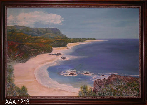 "This artifact is a framed oil painting of a beach scene.  It measures 27.34"" x 39.34""."