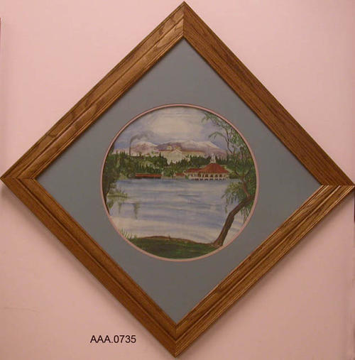 "This artifact is a framed watercolor painting of Lake Norconian, Club and Norconian Hotel (Today CRC).  This artifact measures 31 1/2"" x 31"".  The circular painting is positioned diagonally in the frame."