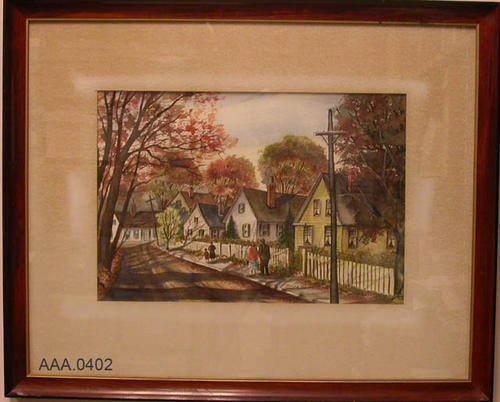 "This artifact is a fall street scene with five houses. Three adults and a child are seen walking down a sidewalk.  The picture measures:  21"" x 14 1/2""."