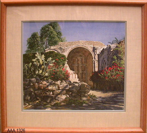 "This artifact is a framed print of a watercolor.  The frame measures 30 3/8"" x 27 1/2"".  The framing was done by:  ""Young's - Custom Frames and Gallery - (805) 688-9745 - 2920 Grand Blvd. - Los Olivos, CA 93441.""  A second sticker on the back of the frame reads:  ""San Juan Capistrano"" Merv Corning - $3,200.00"""