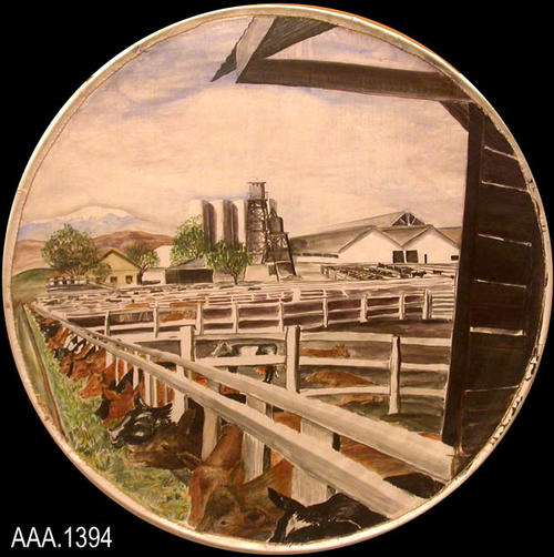 This artifact is round, watercolor art depicting Dairy Farming.  This was done by Mr. Howard Mullins, the art teacher at Corona Sr. High School in the 1930's and 1940's.  The series of six pictures, depicting various Corona-Norco scenes, were possibly used during the Golden Jubilee in 1936.  Each watercolor was done on linen and then sewn to a round metal hoop.