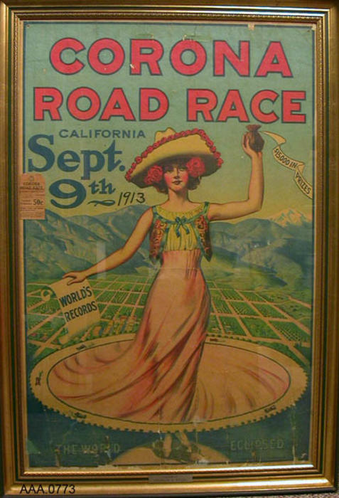 This artifact is a framed poster for the Corona Road Race September 9, 1913.  A ticket to the event is glued on the poster.  This poster was customed framed by Wilson's Frame-Ups in Riverside, CA.