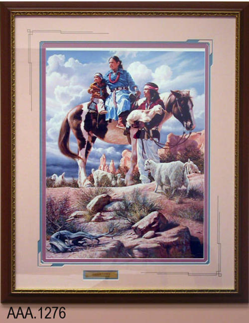 "This artifact is a piece of framed art with glass.  The picture is entitled ""Navajo Family"" and depicts an outdoor scene with a woman and child sitting on a horse with a man holding a lamb standing next to the horse.  There is a metal plate under the picture with the following text:  ""Navajo Family - Alfredo Redriguez.""  This work of art measures 31 1/4"" x 37 3/4""."