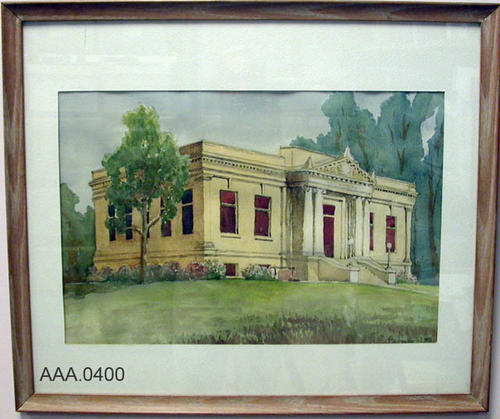 "This artifact is a watercolor painting of the Corona Carnegie Library.  This artifact measures 20"" x 13 1/2""."