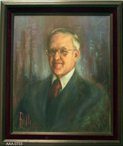 "This artifact is a framed oil painting of Lyle Perusse, the former director of the Corona Public Library from 1964-1977.  It measures 30"" x 25 1/2""."