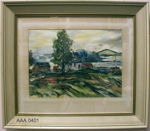 "This artifact is a framed watercolor of a house and buildings on a hill overlooking a lake with two sailboats.  It measures 19 1/2"" x 14 1/2""."