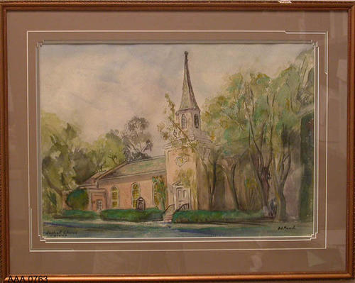 "This artifact is a framed watercolor of the First Baptist Church located on Main Street, Corona, California.  This artifact measures 25 1/2"" x 20"""