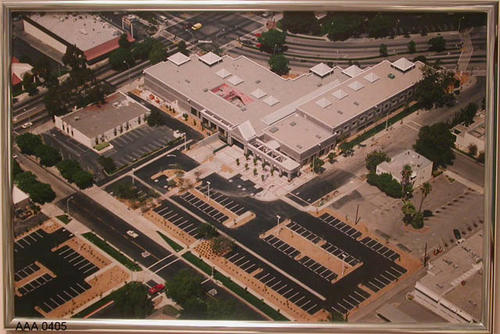 This artifact is a color, aerial photo of the new Corona Public Library  - July 5, 1993.  Hawkeye photo # 7930501