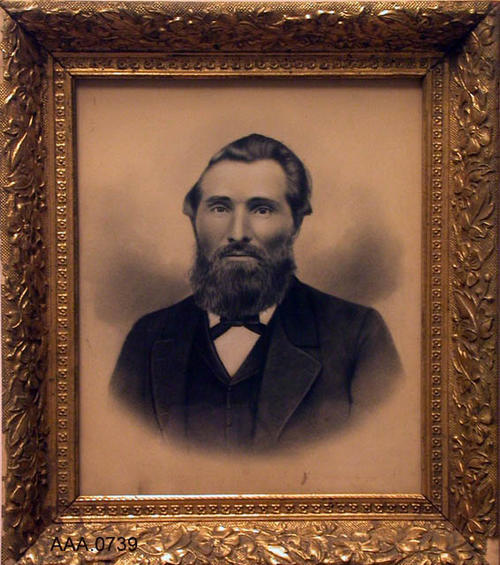 "This artifact is a framed photo of Clair Newton's, Grandfather Wright (Her mother's father).  This artifact measures 15 1/2"" x 13 1/2""."