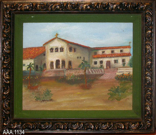 "This artifact is a framed oil painting of the San Louie Mission, the first mission with a tile roof.  This painting was painted by Lynn Lillibridge the husband of the donor.  It was donated after his death in April 1990.  This painting measures 16"" x 12""."