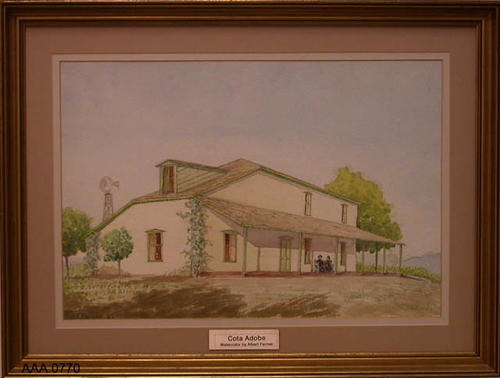 This artifact is a framed watercolor of the Cota Adobe with two people sitting on the porch.