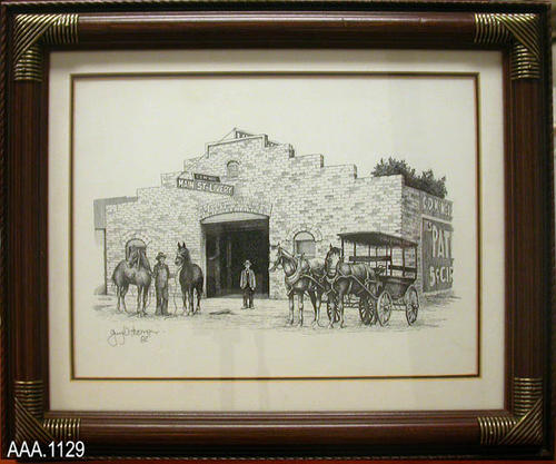 "This artifact is a pen and ink drawing of  ""C. D. NcNeil - Main Street Livery"" Corona, CA.  This framed drawing measures 16 1/2"" (L), 13 1/2"" (W), 1"" Thick."