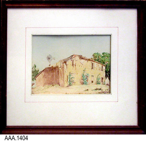 This artifact is a framed watercolor of the Cota Adobe.
