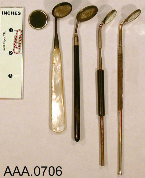 This artifact collection consists of 5 dental mirrors. Donor's Remarks:  This equipment belonged to R. A. Todd, D.D.S., who had dental rooms in the Burton Building in 1905.  Dr. Todd was listed in the 1911 city directory as practicing in the Todd Building.