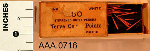 This artifact consists of a box of stiffened Gutta Percha.  Part of the text on the box is missing.. Donor's Remarks:  This equipment belonged to R. A. Todd, D.D.S., who had dental rooms in the Burton Building in 1905.  Dr. Todd was listed in the 1911 city directory as practicing in the Todd Building.