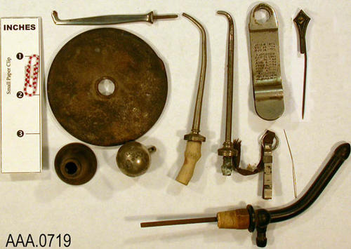 This artifact collection consists of items used in the practice of dentistry or were parts of equipment.  Their exact use has not been identified. Donor's Remarks:  This equipment belonged to R. A. Todd, D.D.S., who had dental rooms in the Burton Building in 1905.  Dr. Todd was listed in the 1911 city directory as practicing in the Todd Building.
