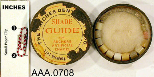 This artifact is a guide used by dentist to determine the proper shade for artificial teeth. Donor's Remarks:  This equipment belonged to R. A. Todd, D.D.S., who had dental rooms in the Burton Building in 1905.  Dr. Todd was listed in the 1911 city directory as practicing in the Todd Building.