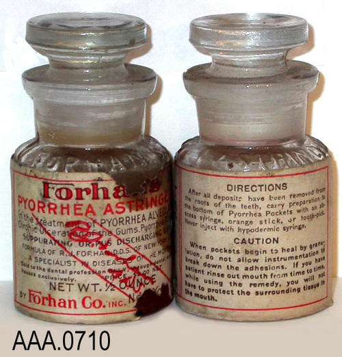 This artifact collection consists of four individual bottles of Forhan pyorrhea astringent. Donor's Remarks:  This equipment belonged to R. A. Todd, D.D.S., who had dental rooms in the Burton Building in 1905.  Dr. Todd was listed in the 1911 city directory as practicing in the Todd Building.