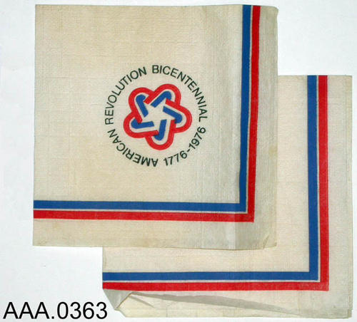 This artifact is a collection of paper napkins from the American Bicentennial.