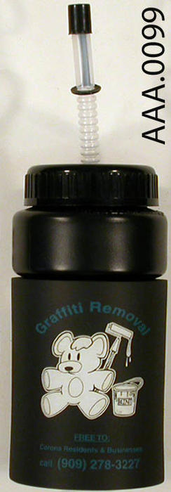"This artifact is a black liquid container that is inscribed with:  ""GRAFFITI REMOVAL."""