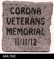 2012 - Corona City Hall Veterans Memorial Wall - Souvenir