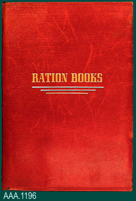 "This artifact is a red leather ration book holder.  The gold text on the front reads:  ""Ration Books."" Donor's Remarks:  This ration book was owned by the donor's mother, Lois Thome, and was used during WWII."