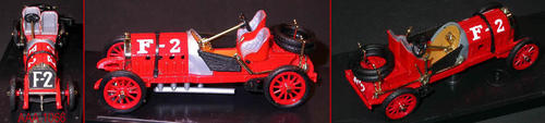 "This artifact is a model of the 1907 Fiat, F-2, 4 Cylinder racing car.  This car could go 100 m.p.h. and developed 130 HP.  This car was typical of the cars that raced on Corona's Grand Blvd.  It is red with white numerals  and has its own protective case.  The car measures 3 3/4"" x 1 1/2"" x 1 1/4"".  The case measures 6"" x 2 1/4""."