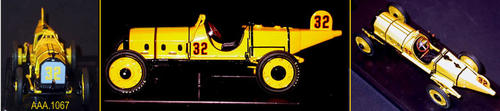 "This artifact is a model of the 1911 Marmon Wasp (Indy 500 Class Car).  The car is yellow with black numerals outlined in red. This vehicle is typical of the ones that raced on Corona's Grand Blvd.  It measures 4 1/2"" x 1 1/2' x 1 1/2"" and comes in a plastic case measuring 6"" x 2 1/4"".  CONDITION:  This artifact is in excellent condition"