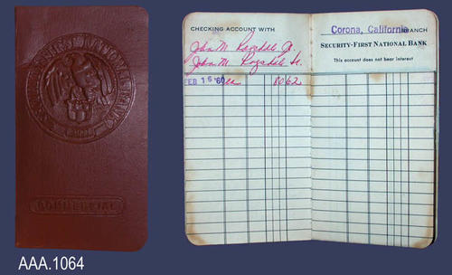 This artifact is a ledger for a commercial checking account with the Security First National Bank of Corona.  There is one opening entry for $80.62 on Feb. 16, 1960. CONDTION:  This artifact is in good condition.