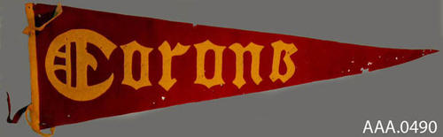 "This artifact is a red pennant which measures 40"" x 10 1/2"".  It has a gold base and gold lettering which reads:  ""Corona.""  CONDITION:  Moth damage."
