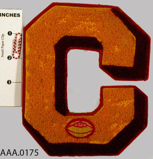 "This artifact is a 6 1/4 x 5 inch letter ""C"" football letter."