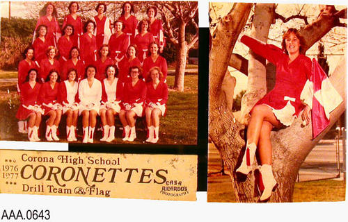 "This artifact is a display board with a group picture and a single picture (right) of ""Corona High School - Coronettes - Drill team and Flag - 1976, 1977""  This display board measures 12"" x 6 7/8"" x 7/8""."