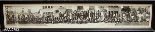 "This artifact is a framed, B/W photograph.  According to the back of the photo, it was taken in 1922 of the High School Class at Corona High School.  This framed photo measures 35 5/8"" x 7 1/2""."