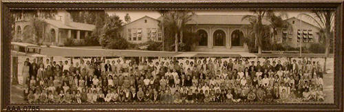 "This artifact is a framed B/W photograph of students in front of the Jefferson Grammar School - circa 1938.  This artifact measures 27 1/2"" x 9"".  NOTE:  An unframed copy of this photo is held as an oversized photo: SCH-Jef 043a, Source:  B-7-1-4."