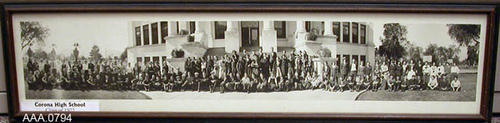 "This  artifact is a framed, B/W photograph of the Class of 1922, Corona High School.  It was framed by Element Art Gallery, Corona, CA, March 3, 1976.  This framed photo measures 37 5/8"" x 9 5/8""."
