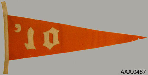 "This artifact is a gold pennant which measures 20 3/8"" by 10 1/4 "" with a white base and a white '10 printed on it.  CONDITION:  This artifact is dirty and has moth holes."