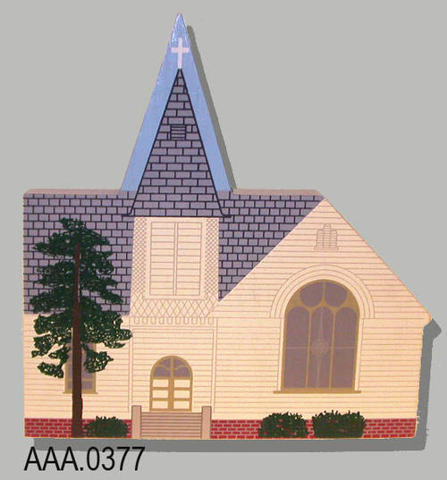 "This artifact is a wood outline model of the original First Baptist Church.  On the back side of the model is the following historical information.  ""The First Baptist Church - Corona, California - Original Church - This wood frame First Baptist Church of South Riverside was built in 1894-95 at a cost of $4000 including furnishings. The first worship service was held on February 17, 1895.  It was destroyed by fire on January 24, 1937."""