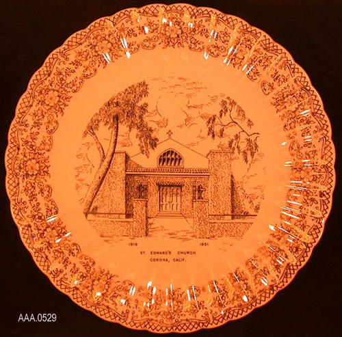 "This artifact is a commemorative plate showing a pictures of St. Edwards ""Field Stone"" church which was build in 1919 and razed in 1951. Donor's Remarks:  St. Edwards Memorial Plate presented to the Library Baord of Trustees from the Boy Scouts of Troop 121 on April 10, 1973, for the Library's local history collection."