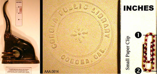 This artifact is the metal seal used to imprint materials with the Corona Public Library Seal.