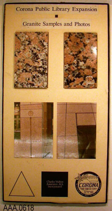 "This artifact is a sample board with two pieces of granite and two photos.  This sample board is entitled ""Corona Public Library Expansion - Granite samples and photos."""
