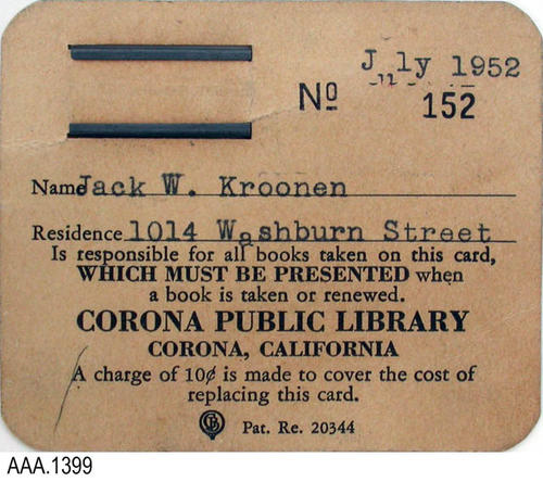 This artifact is a Corona Public Library, library card for checking out books.  Card No. 152, dated July 1952 was issued to Jack W. Kroonen.  Jack Kroonen is the brother to Leo Kroonen a local architect that has designed several Corona buildings.  CONDITION:  This card is in good condition.