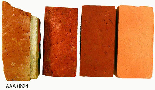 This artifact collection consists of three, red bricks from the old Carnegie Library in addition to one cream-colored brick.