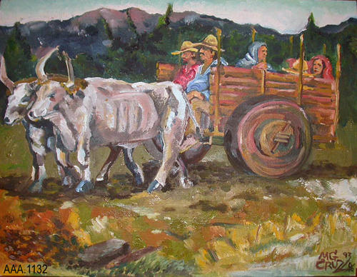 "This artifact is an oirginal oil painting titled, ""Genizaro Travel,"" depicting a family traveling by ox cart.  This painting was commissioned for the grand opening of the Heritage Room Exhibit Gallery.  This painting measures:  28"" x 18""."