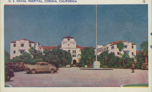 Postcard of the front entrance and parking lot of the U.S. Naval Hospital. Before the Navy purchased the property it was the Lake Norconian Club.